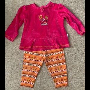Girls Healthtex LS Pink Velour Top & Matching Pant